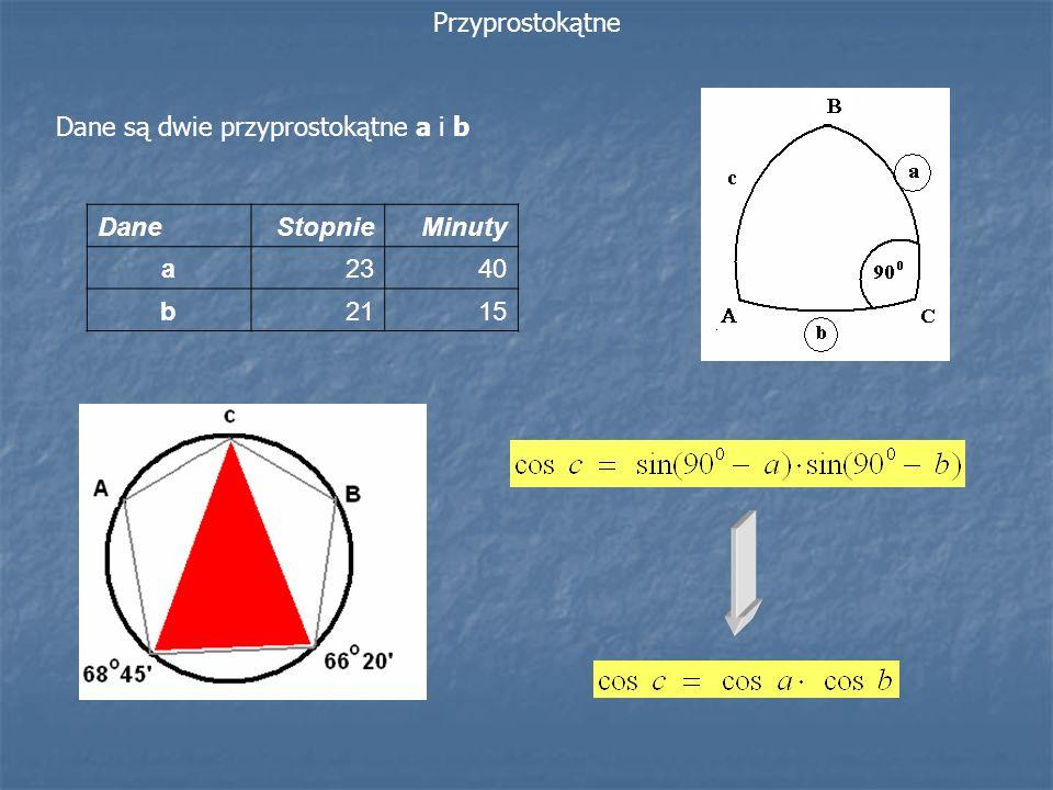 Dane są dwie przyprostokątne a i b Przyprostokątne DaneStopnieMinuty a2340 b2115