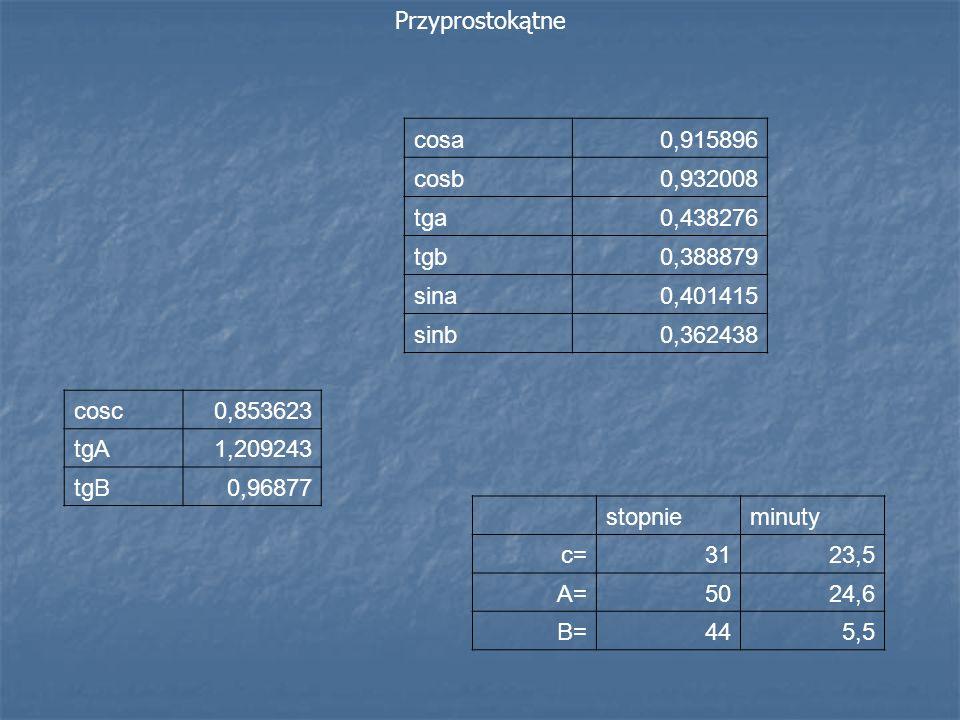 Przyprostokątne stopnieminuty c=3123,5 A=5024,6 B=445,5 cosc0,853623 tgA1,209243 tgB0,96877 cosa0,915896 cosb0,932008 tga0,438276 tgb0,388879 sina0,40