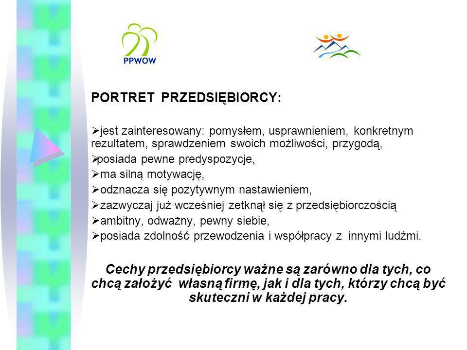 PORTRET PRZEDSIĘBIORCY: jest zainteresowany: pomysłem, usprawnieniem, konkretnym rezultatem, sprawdzeniem swoich możliwości, przygodą, posiada pewne p
