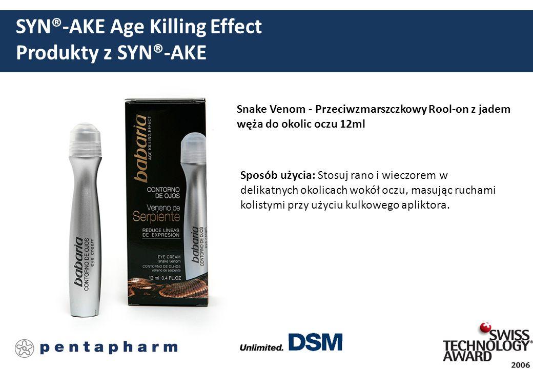 SYN®-AKE Age Killing Effect Produkty z SYN®-AKE Snake Venom - Przeciwzmarszczkowy Rool-on z jadem węża do okolic oczu 12ml Sposób użycia: Stosuj rano