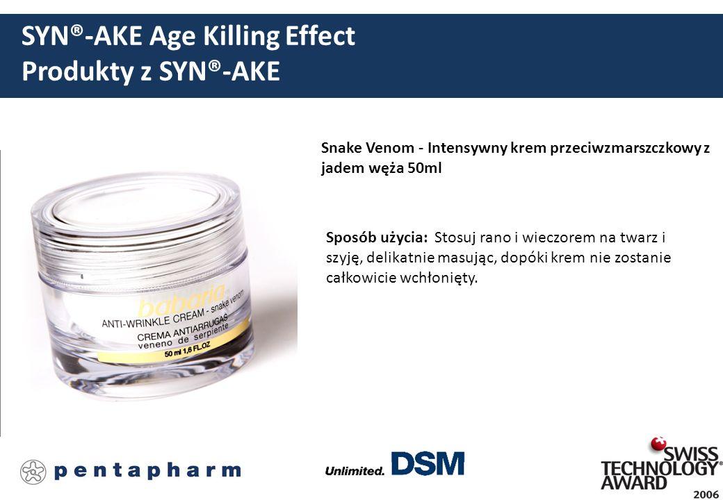 SYN®-AKE Age Killing Effect Produkty z SYN®-AKE Snake Venom - Intensywny krem przeciwzmarszczkowy z jadem węża 50ml Sposób użycia: Stosuj rano i wiecz