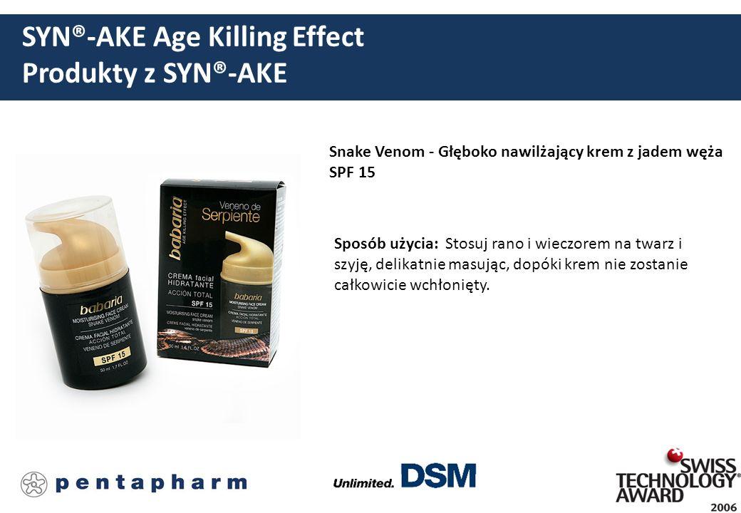 SYN®-AKE Age Killing Effect Produkty z SYN®-AKE Snake Venom - Głęboko nawilżający krem z jadem węża SPF 15 Sposób użycia: Stosuj rano i wieczorem na t