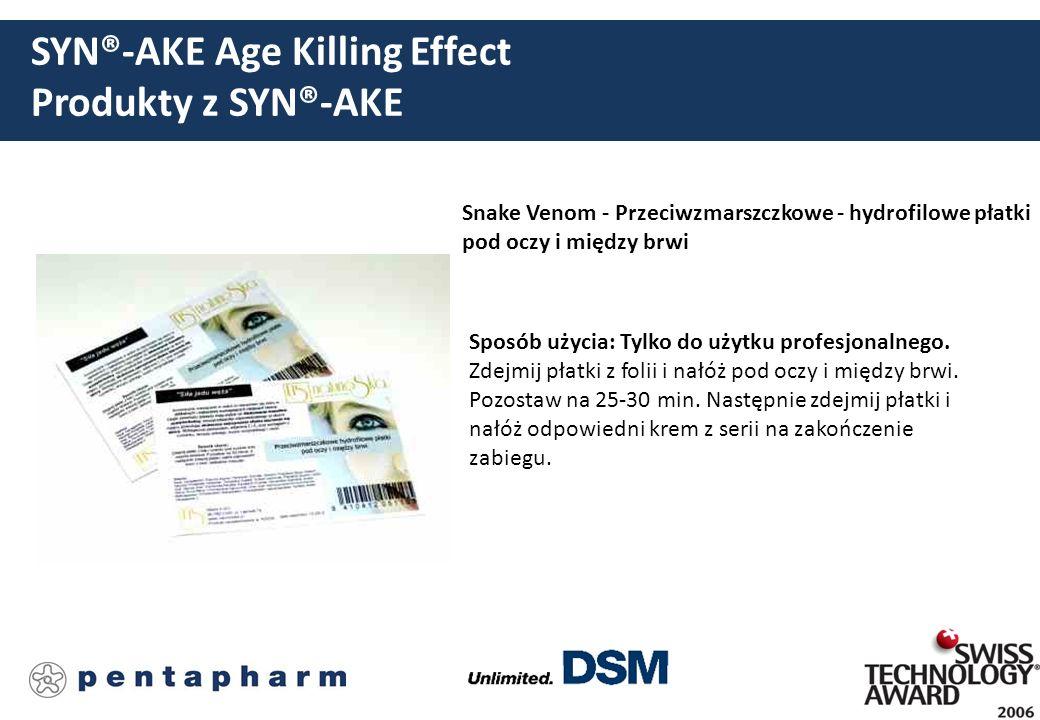 SYN®-AKE Age Killing Effect Produkty z SYN®-AKE Snake Venom - Przeciwzmarszczkowe - hydrofilowe płatki pod oczy i między brwi Sposób użycia: Tylko do