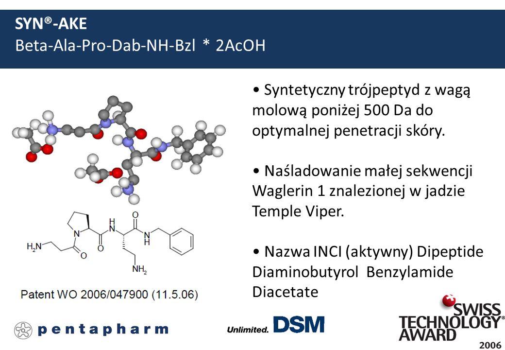 SYN®-AKE Beta-Ala-Pro-Dab-NH-Bzl * 2AcOH Syntetyczny trójpeptyd z wagą molową poniżej 500 Da do optymalnej penetracji skóry. Naśladowanie małej sekwen