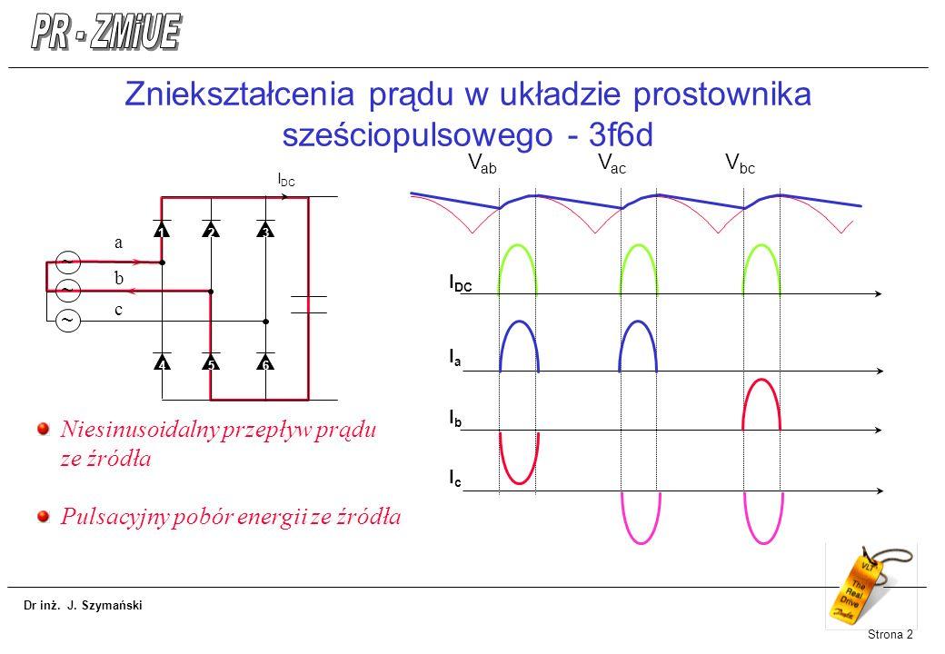 Dr inż. J. Szymański Strona 2 Zniekształcenia prądu w układzie prostownika sześciopulsowego - 3f6d 1 ~ ~ ~ a b c 23 645 I DC V ab V ac V bc I DC IaIa