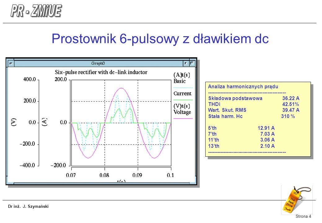Dr inż. J. Szymański Strona 4 Prostownik 6-pulsowy z dławikiem dc Analiza harmonicznych prądu ------------------------------------------------ Składow