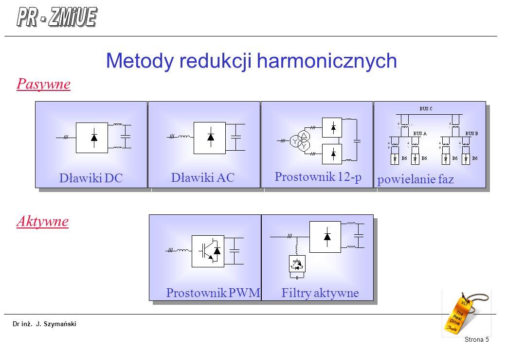 Dr inż. J. Szymański Strona 5 Metody redukcji harmonicznych Pasywne Dławiki DC Dławiki AC Prostownik 12-p powielanie faz Aktywne Prostownik PWMFiltry