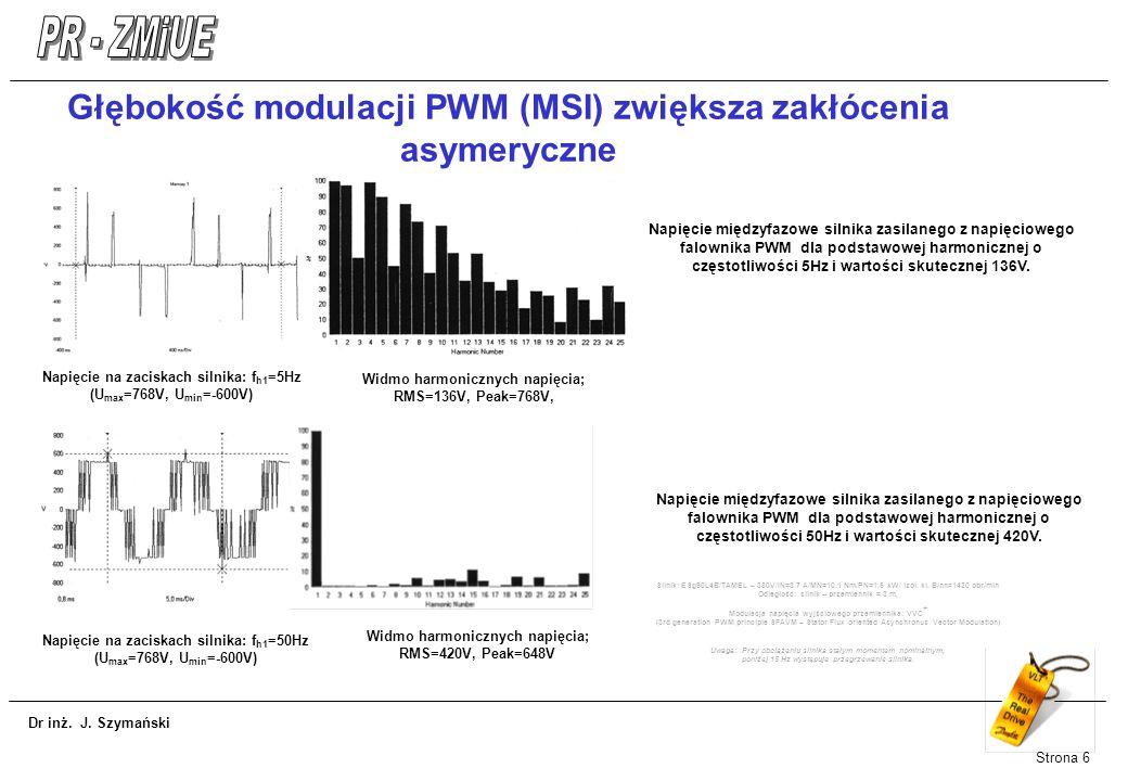 Dr inż. J. Szymański Strona 6 Głębokość modulacji PWM (MSI) zwiększa zakłócenia asymeryczne Napięcie na zaciskach silnika: f h1 =5Hz (U max =768V, U m