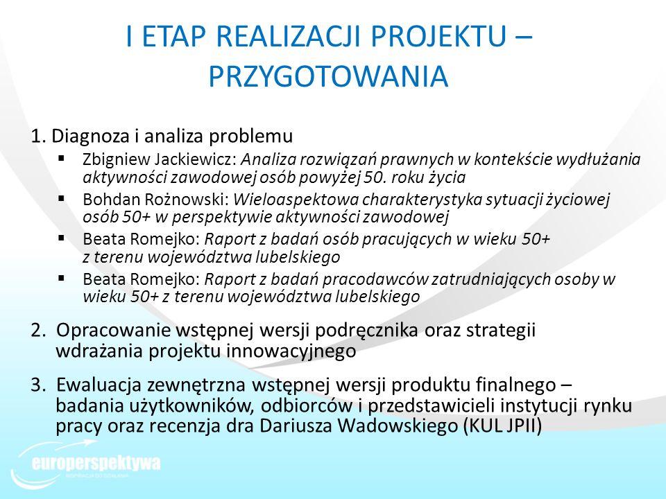 I ETAP REALIZACJI PROJEKTU – PRZYGOTOWANIA 1. Diagnoza i analiza problemu Zbigniew Jackiewicz: Analiza rozwiązań prawnych w kontekście wydłużania akty