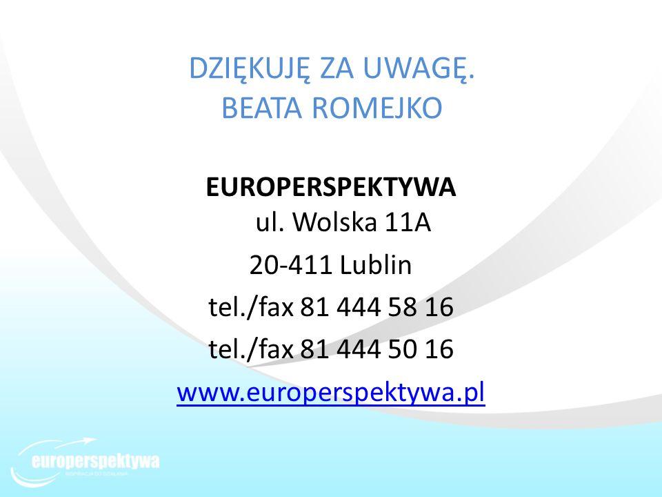 DZIĘKUJĘ ZA UWAGĘ. BEATA ROMEJKO EUROPERSPEKTYWA ul. Wolska 11A 20-411 Lublin tel./fax 81 444 58 16 tel./fax 81 444 50 16 www.europerspektywa.pl