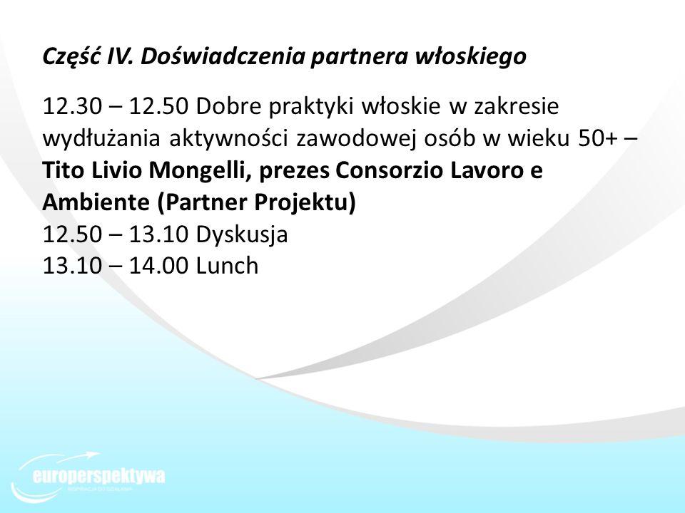 Część IV. Doświadczenia partnera włoskiego 12.30 – 12.50 Dobre praktyki włoskie w zakresie wydłużania aktywności zawodowej osób w wieku 50+ – Tito Liv