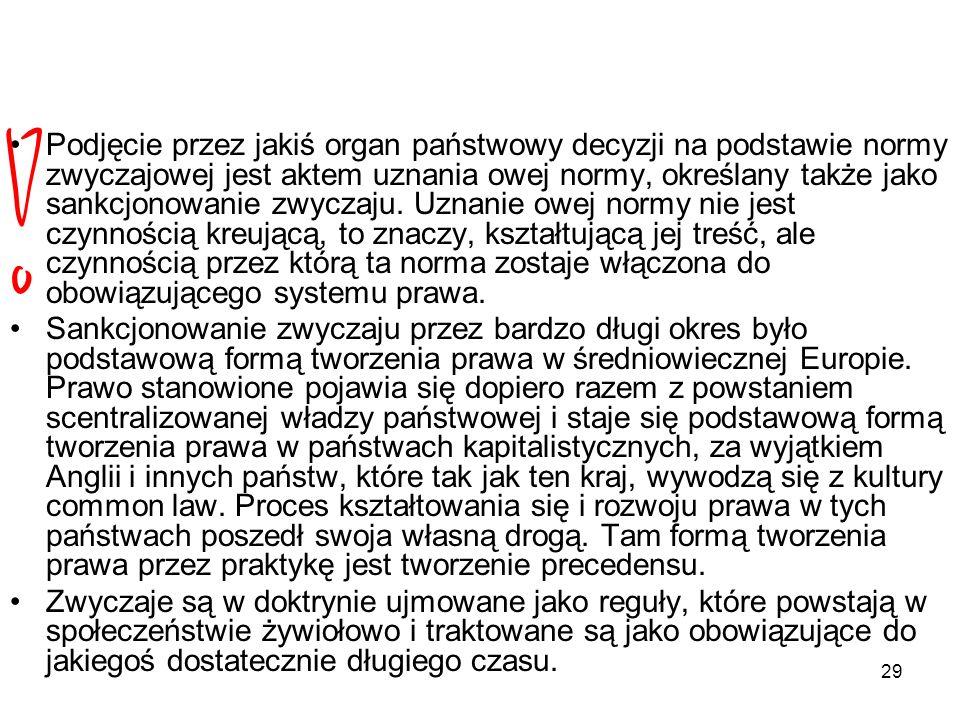 29 Podjęcie przez jakiś organ państwowy decyzji na podstawie normy zwyczajowej jest aktem uznania owej normy, określany także jako sankcjonowanie zwyc