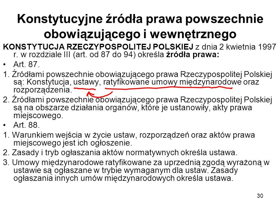30 Konstytucyjne źródła prawa powszechnie obowiązującego i wewnętrznego KONSTYTUCJA RZECZYPOSPOLITEJ POLSKIEJ z dnia 2 kwietnia 1997 r. w rozdziale II