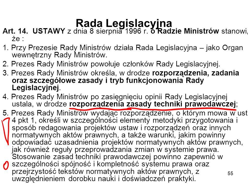 55 Rada Legislacyjna Art. 14. USTAWY z dnia 8 sierpnia 1996 r. o Radzie Ministrów stanowi, że : 1. Przy Prezesie Rady Ministrów działa Rada Legislacyj
