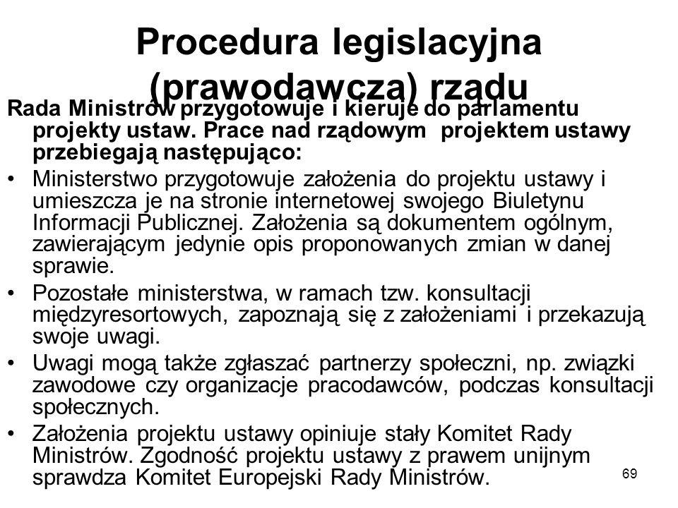 69 Procedura legislacyjna (prawodawcza) rządu Rada Ministrów przygotowuje i kieruje do parlamentu projekty ustaw. Prace nad rządowym projektem ustawy