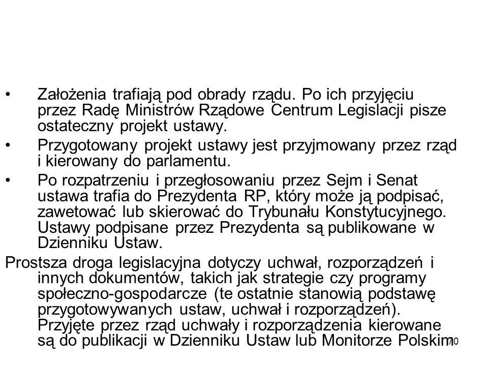 70 Założenia trafiają pod obrady rządu. Po ich przyjęciu przez Radę Ministrów Rządowe Centrum Legislacji pisze ostateczny projekt ustawy. Przygotowany