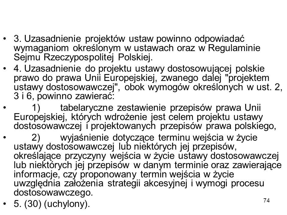 74 3. Uzasadnienie projektów ustaw powinno odpowiadać wymaganiom określonym w ustawach oraz w Regulaminie Sejmu Rzeczypospolitej Polskiej. 4. Uzasadni