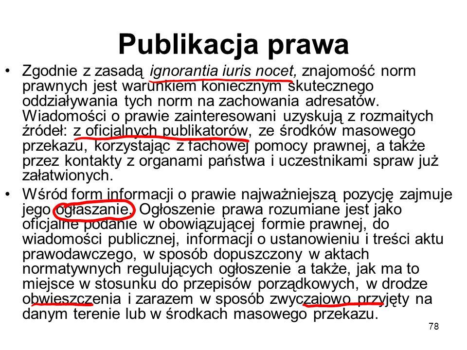 78 Publikacja prawa Zgodnie z zasadą ignorantia iuris nocet, znajomość norm prawnych jest warunkiem koniecznym skutecznego oddziaływania tych norm na
