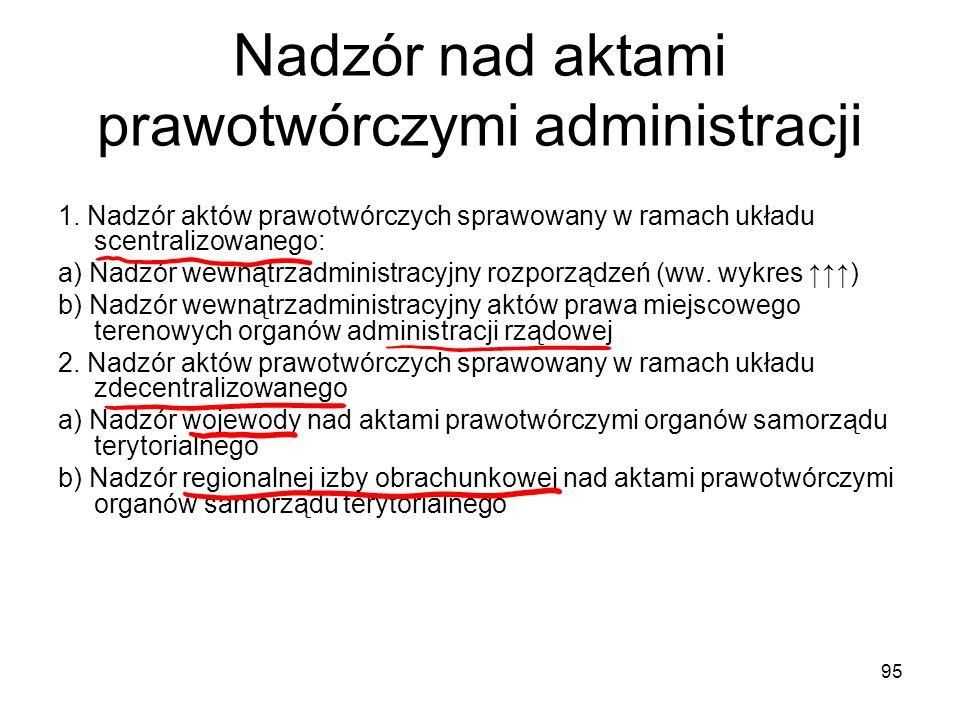95 Nadzór nad aktami prawotwórczymi administracji 1. Nadzór aktów prawotwórczych sprawowany w ramach układu scentralizowanego: a) Nadzór wewnątrzadmin