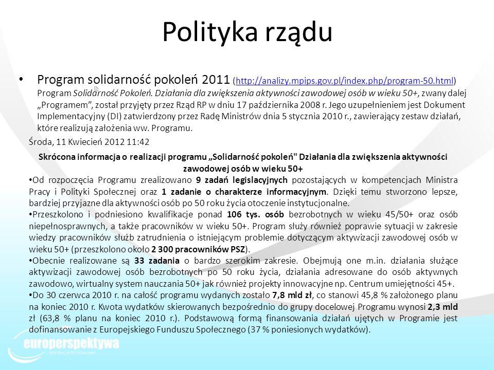 Polityka rządu Program solidarność pokoleń 2011 (http://analizy.mpips.gov.pl/index.php/program-50.html) Program Solidarność Pokoleń. Działania dla zwi
