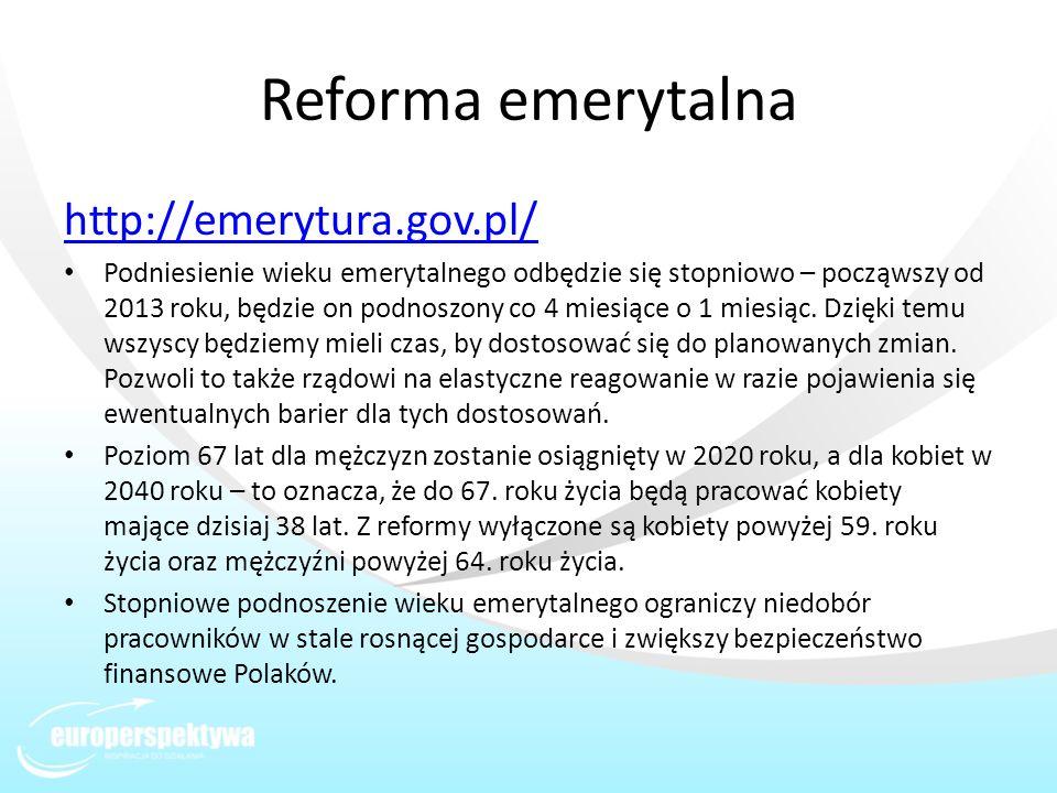 Reforma emerytalna http://emerytura.gov.pl/ Podniesienie wieku emerytalnego odbędzie się stopniowo – począwszy od 2013 roku, będzie on podnoszony co 4