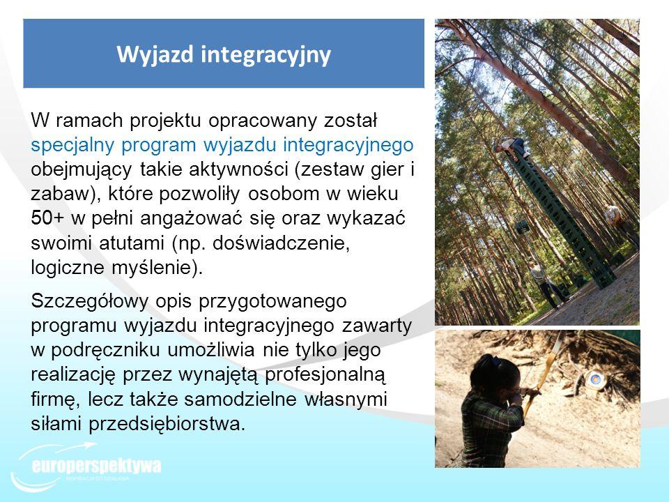 Wyjazd integracyjny W ramach projektu opracowany został specjalny program wyjazdu integracyjnego obejmujący takie aktywności (zestaw gier i zabaw), kt