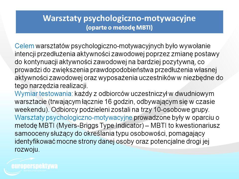 Warsztaty psychologiczno-motywacyjne (oparte o metodę MBTI) Celem warsztatów psychologiczno-motywacyjnych było wywołanie intencji przedłużenia aktywno