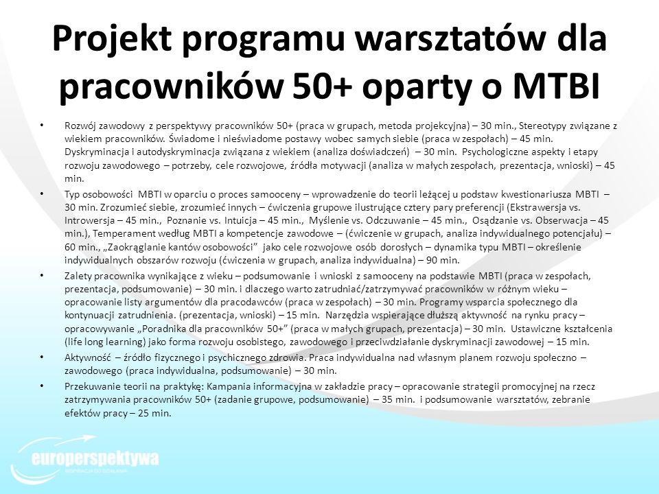 Projekt programu warsztatów dla pracowników 50+ oparty o MTBI Rozwój zawodowy z perspektywy pracowników 50+ (praca w grupach, metoda projekcyjna) – 30