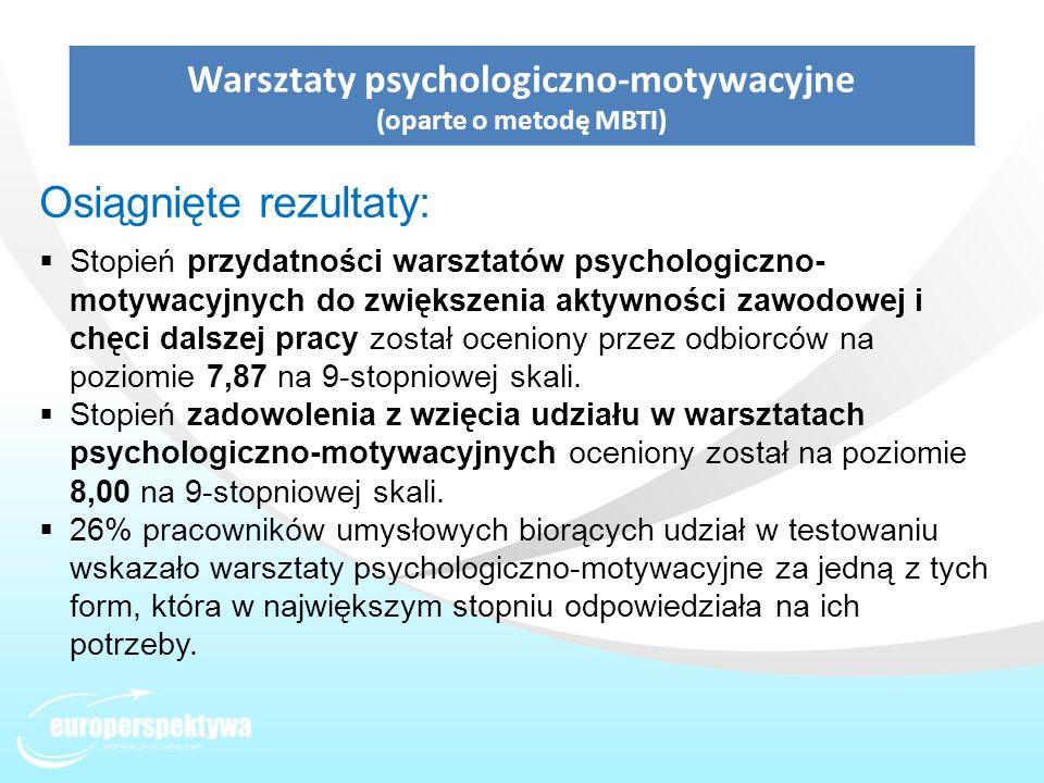 Warsztaty psychologiczno-motywacyjne (oparte o metodę MBTI) Osiągnięte rezultaty: Stopień przydatności warsztatów psychologiczno- motywacyjnych do zwi