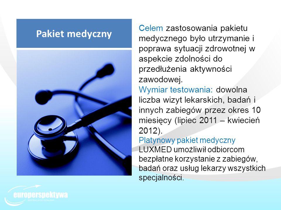 Celem zastosowania pakietu medycznego było utrzymanie i poprawa sytuacji zdrowotnej w aspekcie zdolności do przedłużenia aktywności zawodowej. Wymiar