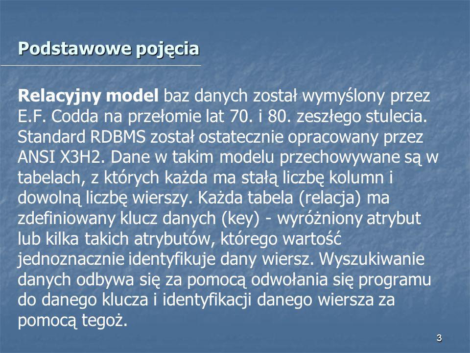 4 Potrzeba tworzenia baz danych Katalogowanie opisów obiektów tej samej klasy Imię, Nazwisko, Pesel, Data urodzenia, adres zamieszkania, sygn.