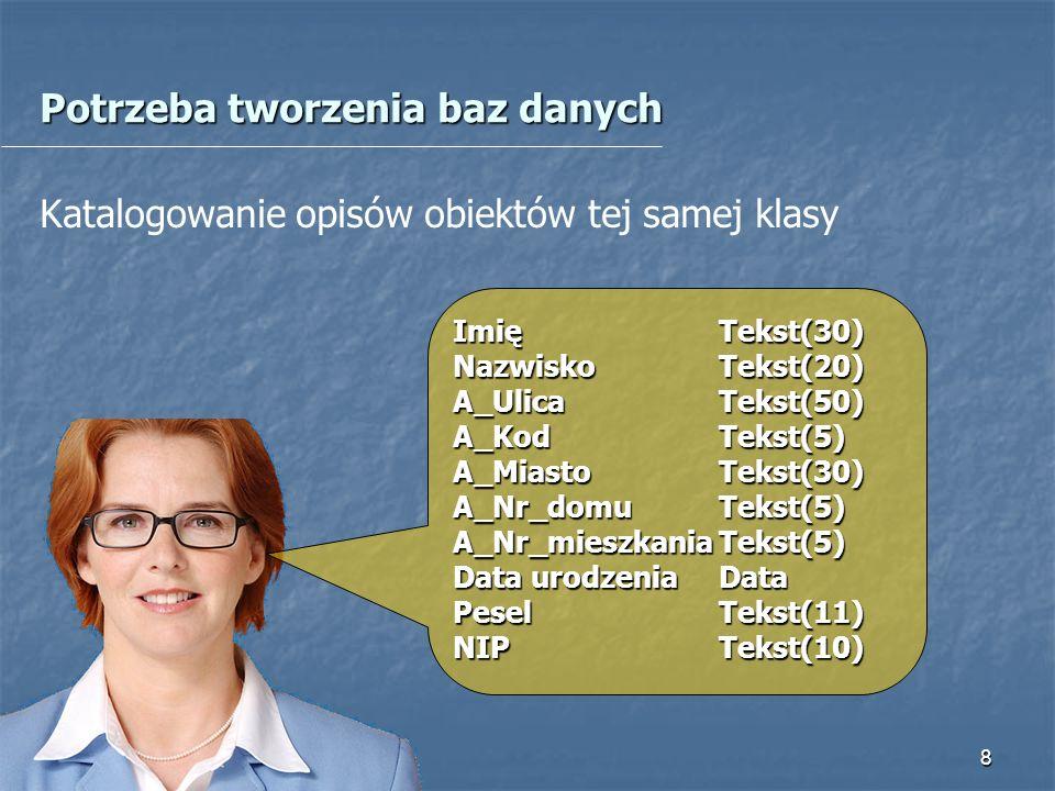 9 Typy relacji Relacja: wiele-do-jednego Tabela nadrzędna Tabela podrzędna Relacja: jeden-do-wielu Tabela podrzędna Tabela nadrzędna Relacja: wiele-do-wielu Tabela równorzędna