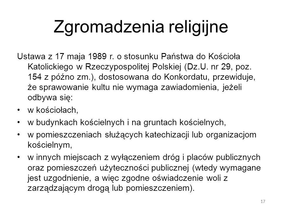 17 Zgromadzenia religijne Ustawa z 17 maja 1989 r. o stosunku Państwa do Kościoła Katolickiego w Rzeczypospolitej Polskiej (Dz.U. nr 29, poz. 154 z pó
