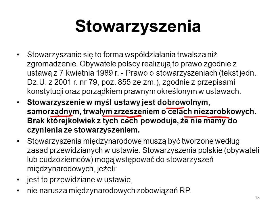 18 Stowarzyszenia Stowarzyszanie się to forma współdziałania trwalsza niż zgromadzenie. Obywatele polscy realizują to prawo zgodnie z ustawą z 7 kwiet