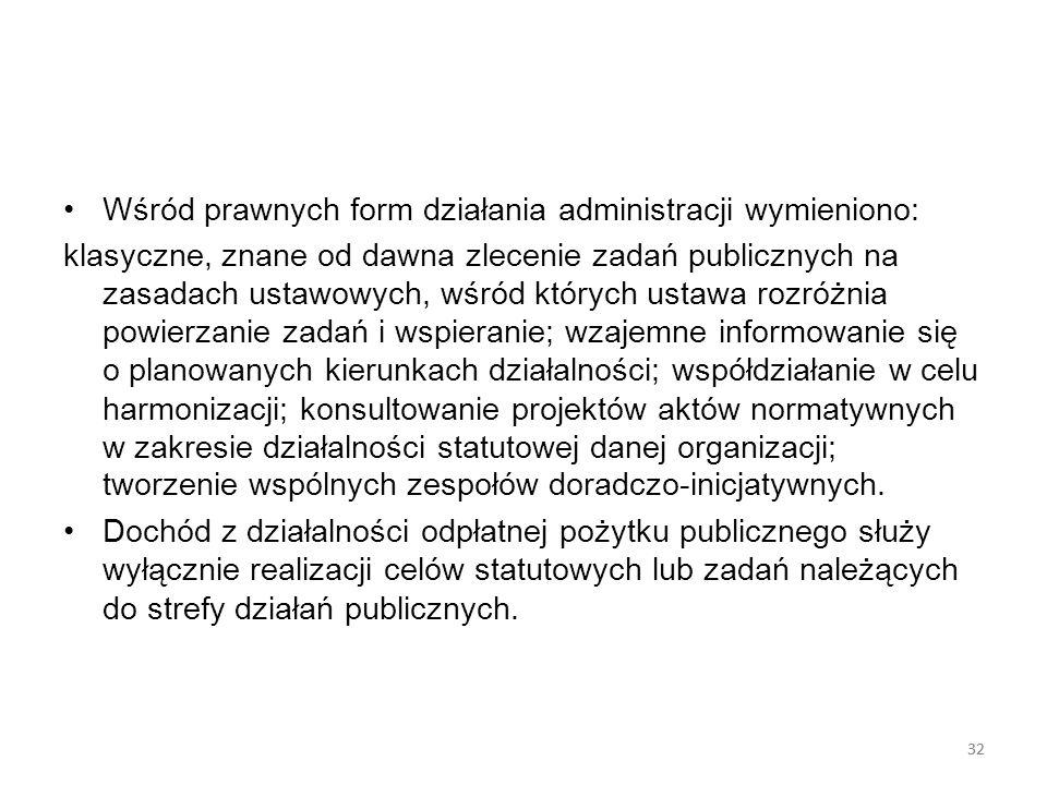 32 Wśród prawnych form działania administracji wymieniono: klasyczne, znane od dawna zlecenie zadań publicznych na zasadach ustawowych, wśród których