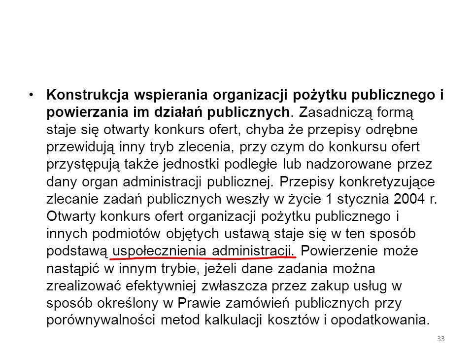 33 Konstrukcja wspierania organizacji pożytku publicznego i powierzania im działań publicznych. Zasadniczą formą staje się otwarty konkurs ofert, chyb