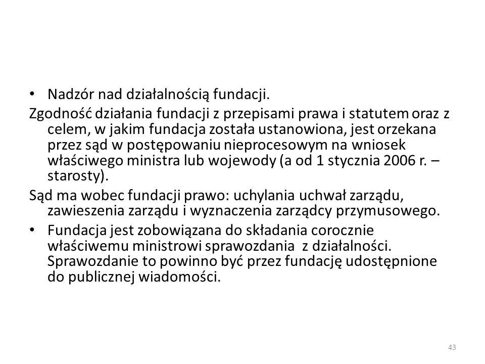 43 Nadzór nad działalnością fundacji. Zgodność działania fundacji z przepisami prawa i statutem oraz z celem, w jakim fundacja została ustanowiona, je