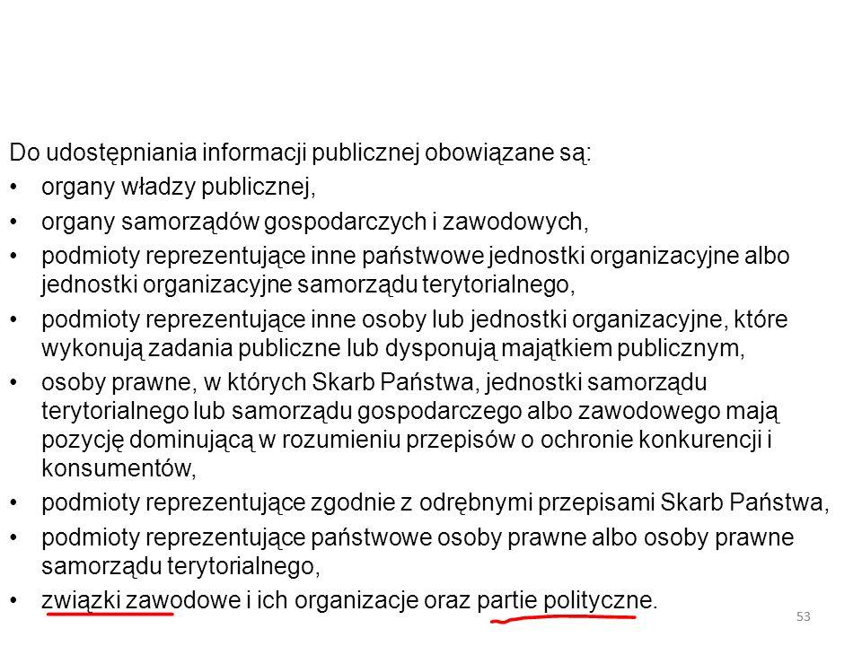 53 Do udostępniania informacji publicznej obowiązane są: organy władzy publicznej, organy samorządów gospodarczych i zawodowych, podmioty reprezentują