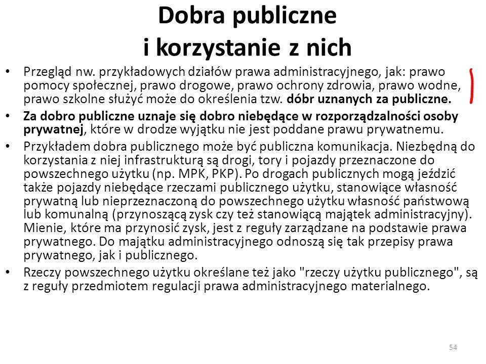 54 Dobra publiczne i korzystanie z nich Przegląd nw. przykładowych działów prawa administracyjnego, jak: prawo pomocy społecznej, prawo drogowe, prawo