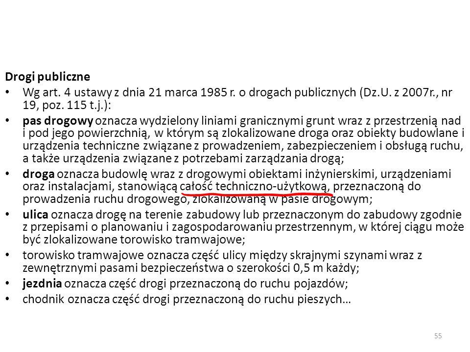 55 Drogi publiczne Wg art. 4 ustawy z dnia 21 marca 1985 r. o drogach publicznych (Dz.U. z 2007r., nr 19, poz. 115 t.j.): pas drogowy oznacza wydzielo