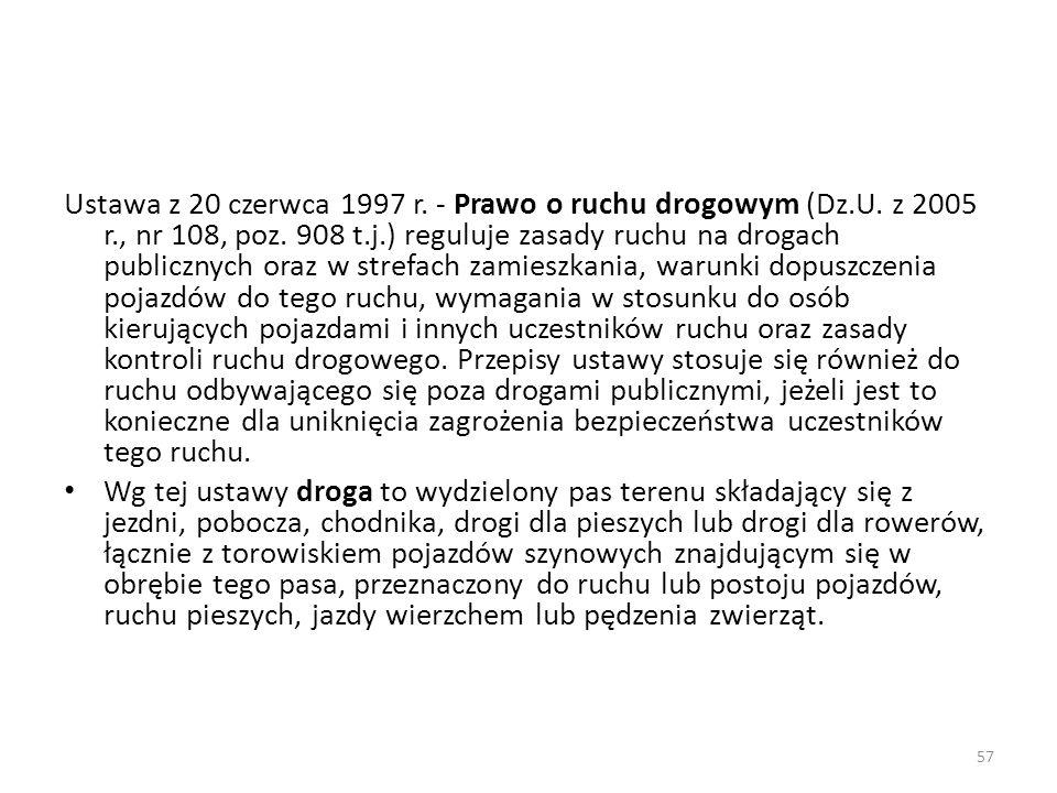 57 Ustawa z 20 czerwca 1997 r. - Prawo o ruchu drogowym (Dz.U. z 2005 r., nr 108, poz. 908 t.j.) reguluje zasady ruchu na drogach publicznych oraz w s