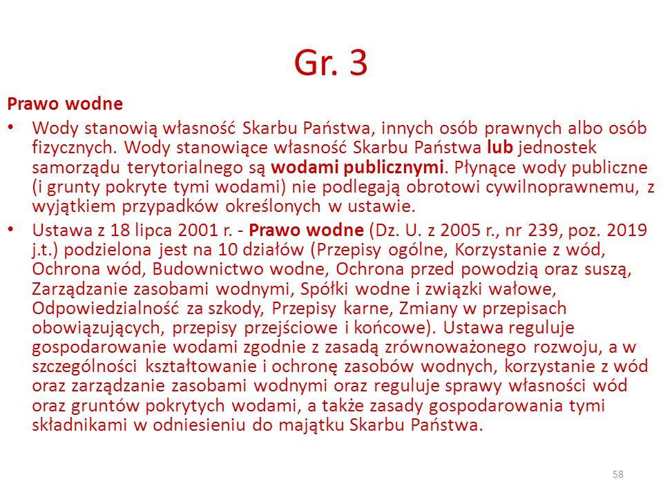 58 Gr. 3 Prawo wodne Wody stanowią własność Skarbu Państwa, innych osób prawnych albo osób fizycznych. Wody stanowiące własność Skarbu Państwa lub jed