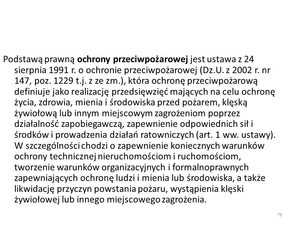 79 Podstawą prawną ochrony przeciwpożarowej jest ustawa z 24 sierpnia 1991 r. o ochronie przeciwpożarowej (Dz.U. z 2002 r. nr 147, poz. 1229 t.j. z ze