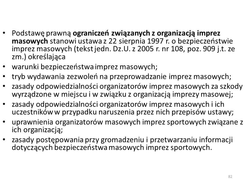 82 Podstawę prawną ograniczeń związanych z organizacją imprez masowych stanowi ustawa z 22 sierpnia 1997 r. o bezpieczeństwie imprez masowych (tekst j