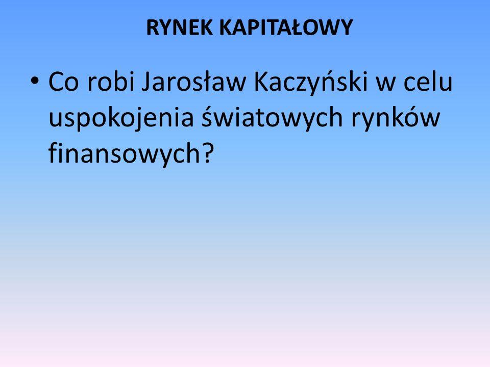 RYNEK KAPITAŁOWY Co robi Jarosław Kaczyński w celu uspokojenia światowych rynków finansowych?