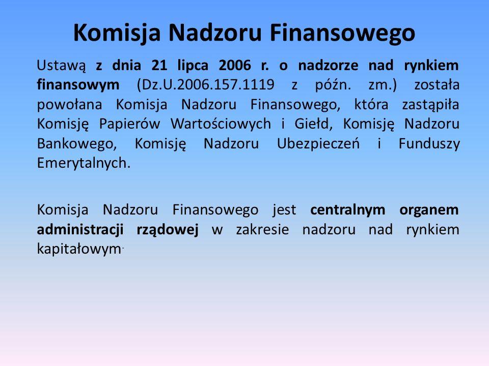 Komisja Nadzoru Finansowego Ustawą z dnia 21 lipca 2006 r. o nadzorze nad rynkiem finansowym (Dz.U.2006.157.1119 z późn. zm.) została powołana Komisja
