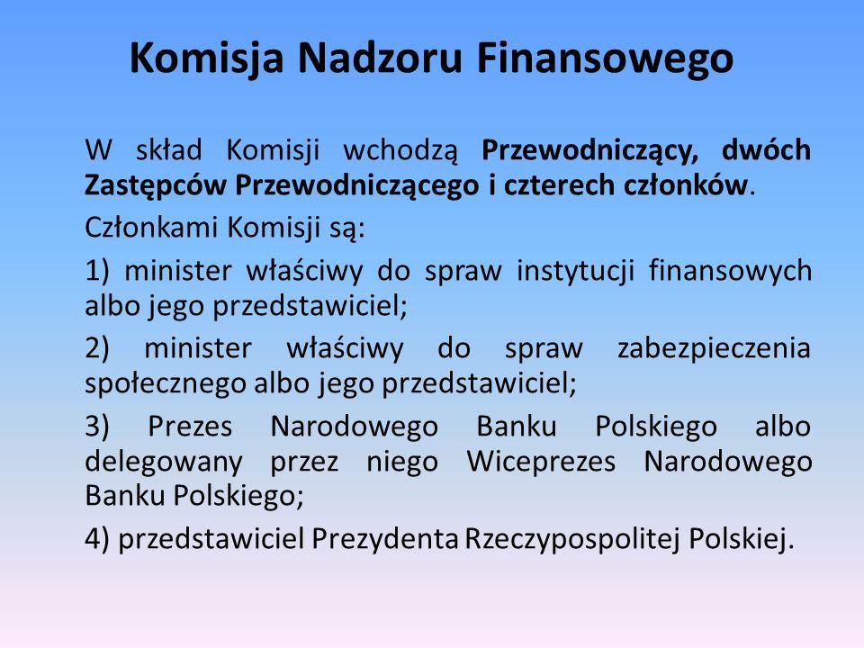 Komisja Nadzoru Finansowego W skład Komisji wchodzą Przewodniczący, dwóch Zastępców Przewodniczącego i czterech członków. Członkami Komisji są: 1) min