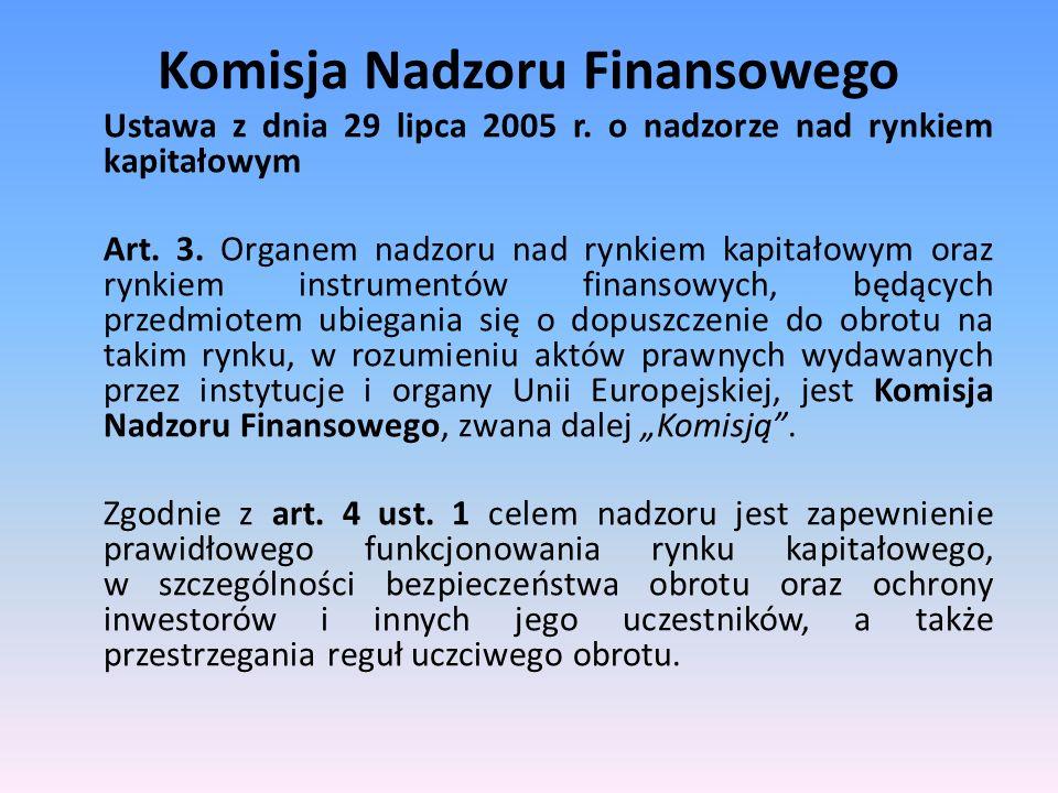 Komisja Nadzoru Finansowego Ustawa z dnia 29 lipca 2005 r. o nadzorze nad rynkiem kapitałowym Art. 3. Organem nadzoru nad rynkiem kapitałowym oraz ryn