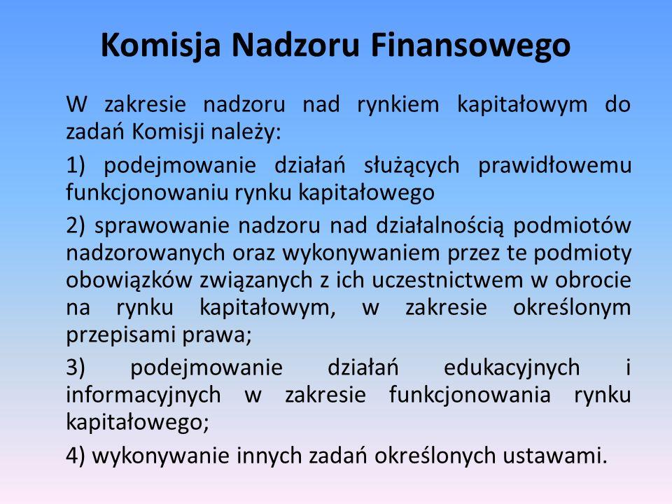 Komisja Nadzoru Finansowego W zakresie nadzoru nad rynkiem kapitałowym do zadań Komisji należy: 1) podejmowanie działań służących prawidłowemu funkcjo