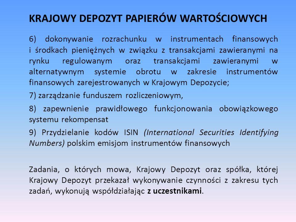 KRAJOWY DEPOZYT PAPIERÓW WARTOŚCIOWYCH 6) dokonywanie rozrachunku w instrumentach finansowych i środkach pieniężnych w związku z transakcjami zawieran